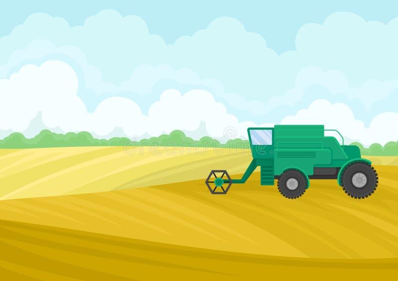 Groen combineer op het gebied Vector illustratie op witte achtergrond vector illustratie