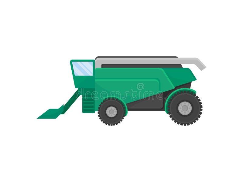 Groen combineer voor het oogsten van korrel Vector illustratie op witte achtergrond royalty-vrije illustratie