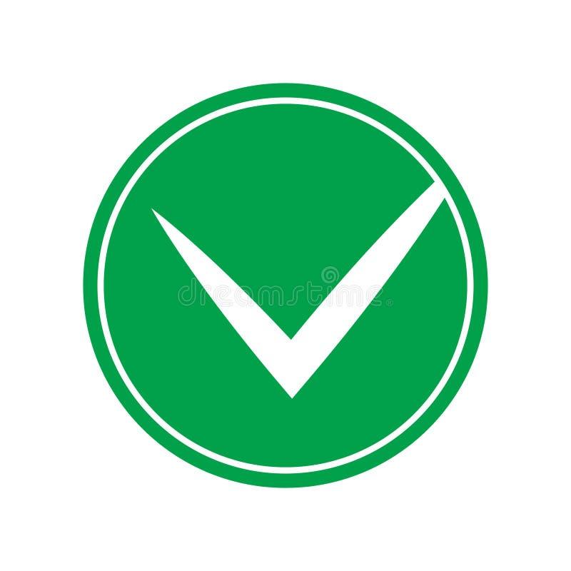 Groen controlelijstpictogram, de vector van het vinkjepictogram stock illustratie