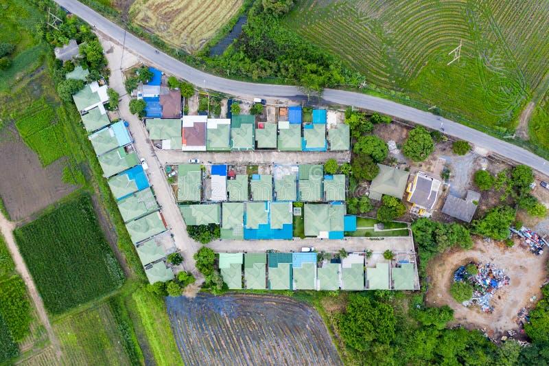 Groen dak van dorp in voorstad met padieveld bij platteland stock foto's