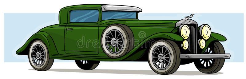 Groen de auto vectorpictogram van de beeldverhaal retro uitstekend luxe vector illustratie
