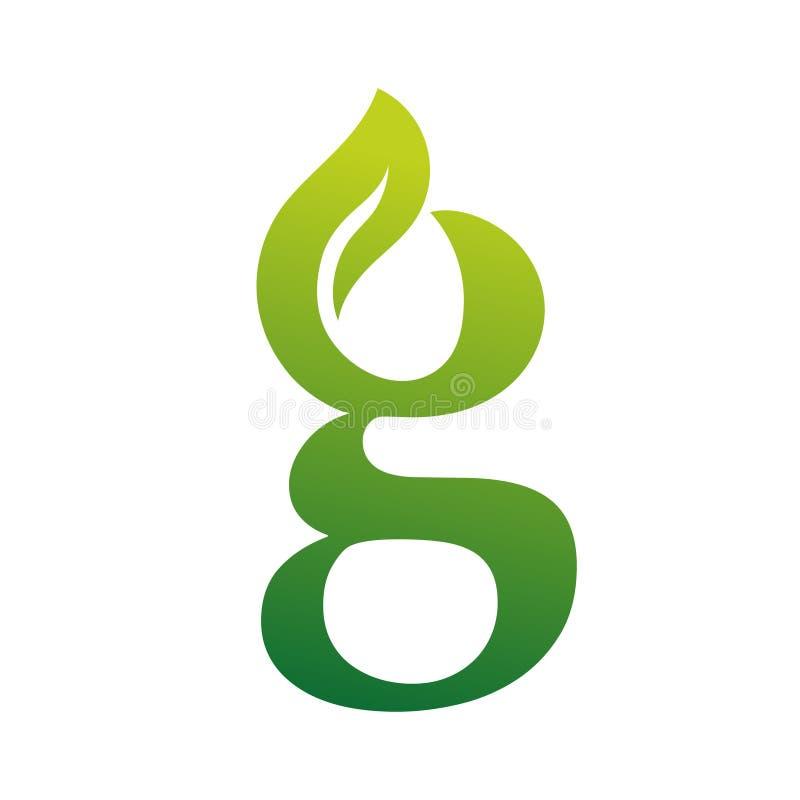 Groen de brievenembleem van Bladg stock afbeelding