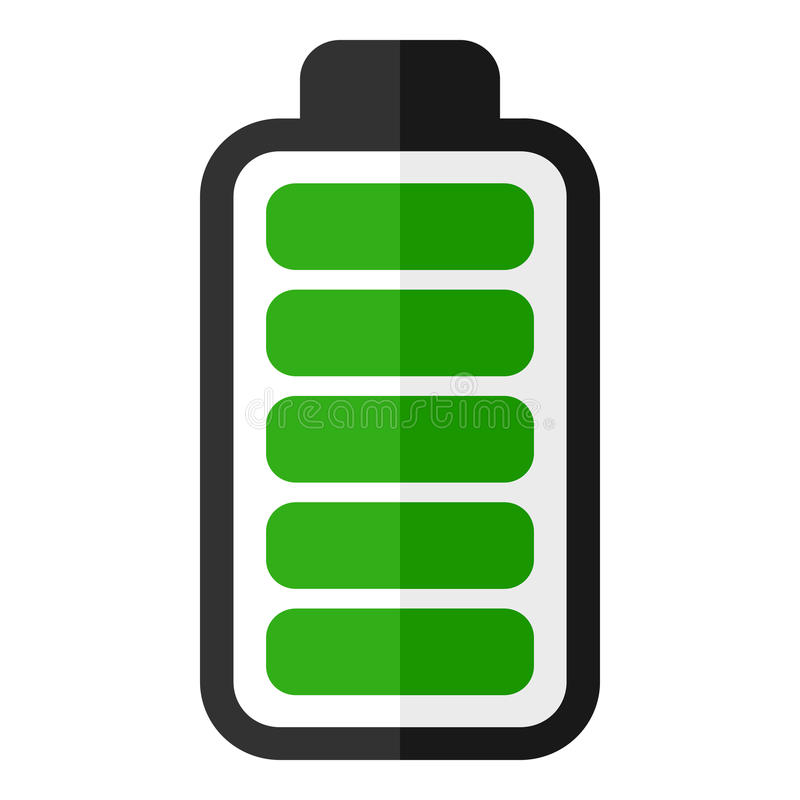 Groen de Indicator Vlak Pictogram van de Batterijenergie royalty-vrije illustratie
