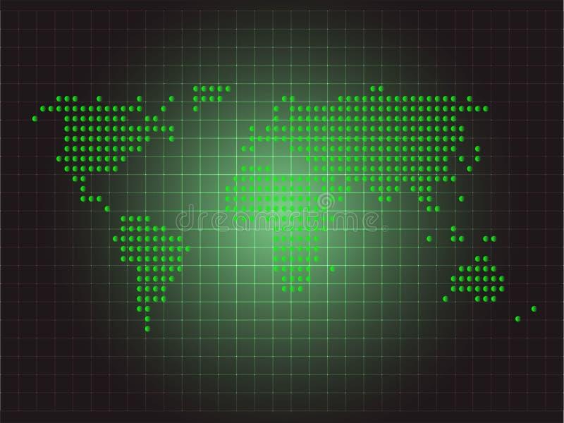 Groen de puntontwerp van de wereldkaart stock foto