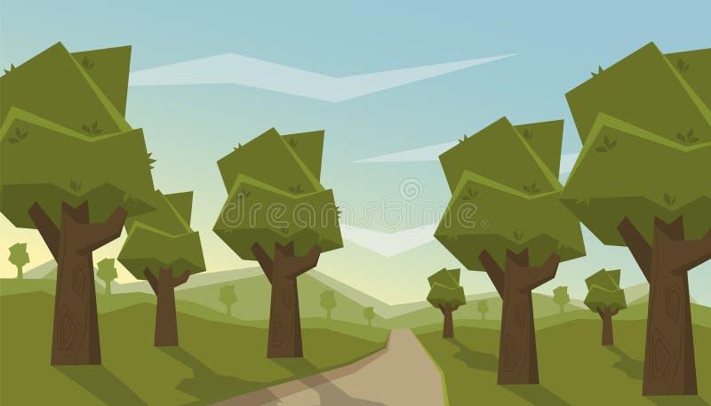 Groen de zomerbos op de achtergrond van bergen stock foto's