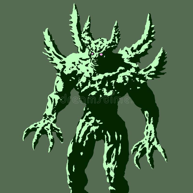 Groen demon met arentribunes klaar aan te vallen Vector illustratie stock illustratie