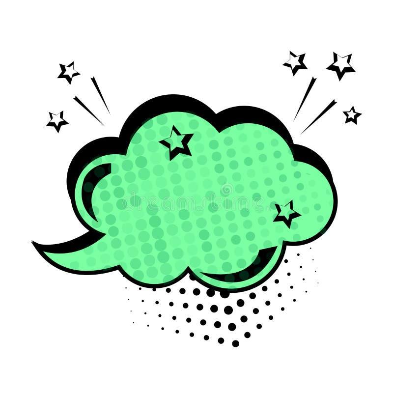 Groen dialoogvenster, bannerreeks Gekleurde lege wolk met punten en sterren Grappige geluidseffecten in pop-artstijl Vector royalty-vrije illustratie