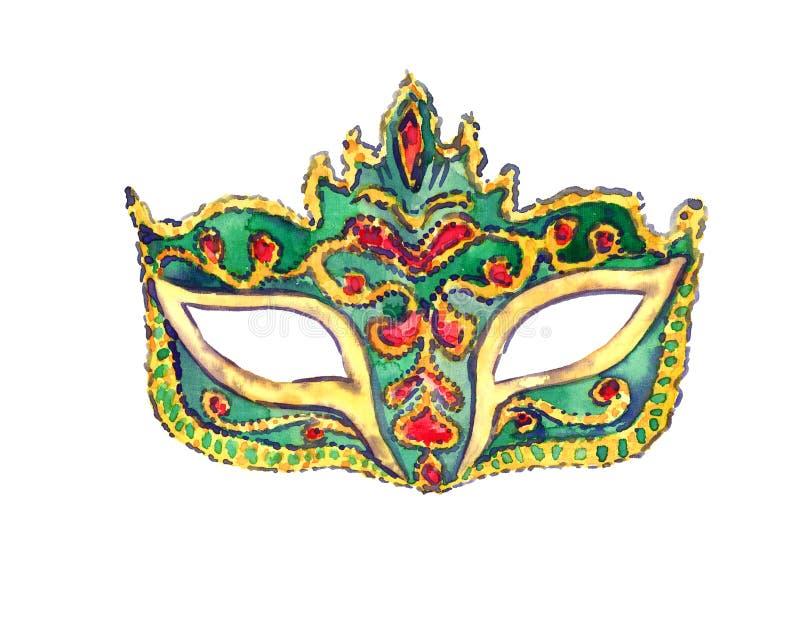 Groen die Carnaval-masker op wit wordt geïsoleerd stock illustratie