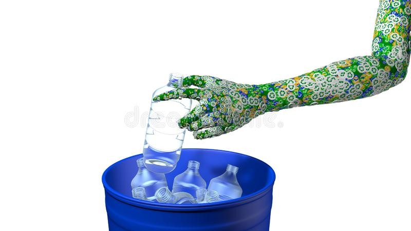 Groen die man wapen door groene, blauwe en gele cirkels met het recyclingssymbool wordt behandeld door een plastic fles in een bl vector illustratie