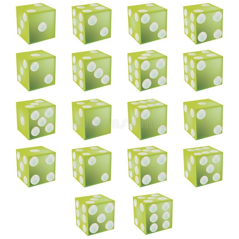 Groen dobbel met het knippen van weg vector illustratie