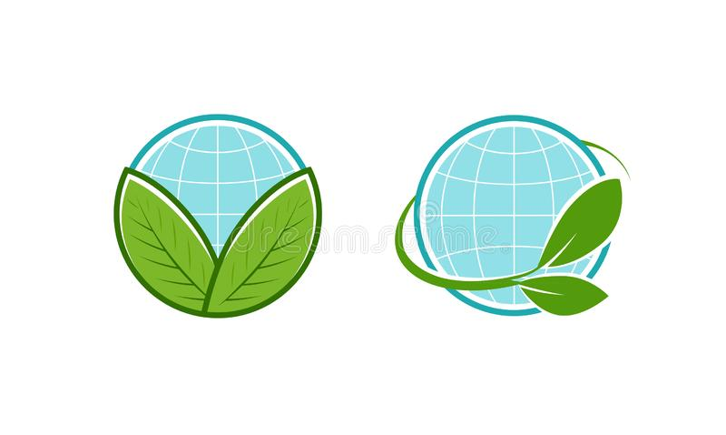 Groen doorbladert en bolembleem Eco, natuurlijke, organische pictogram of symbool Vector illustratie royalty-vrije illustratie