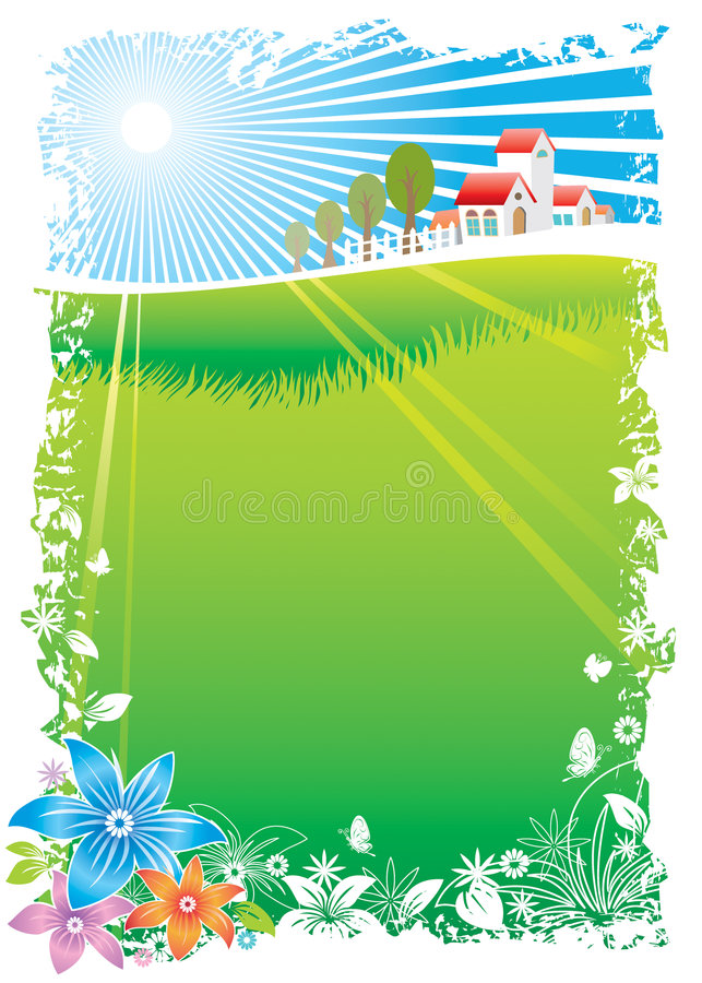 Groen Dorp stock illustratie