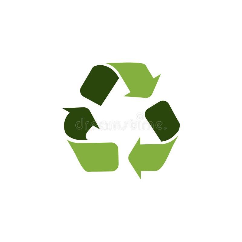 Groen driehoekig eco kringlooppictogram, vectordieillustratie op witte achtergrond wordt geïsoleerd stock illustratie