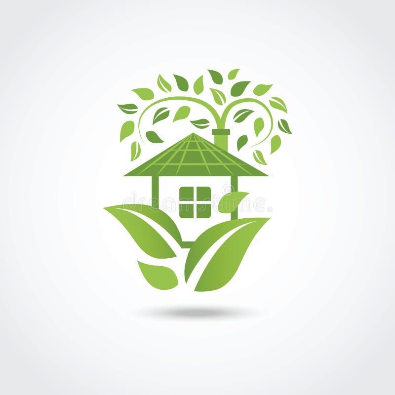 Groen ecohuis vector illustratie