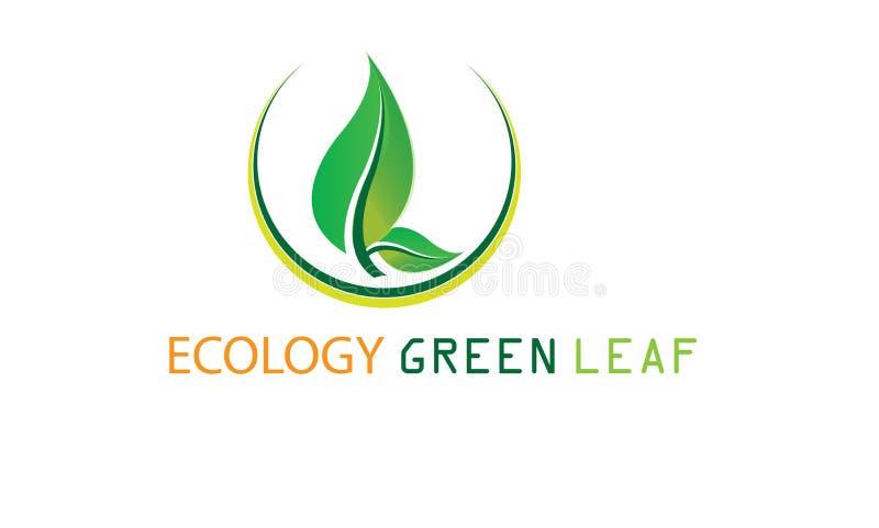 Groen Ecologieblad Logo Template - Groene Verse de Natuurvoeding Natuurlijke Gezondheidszorg van Gezondheidseco Logotype royalty-vrije illustratie