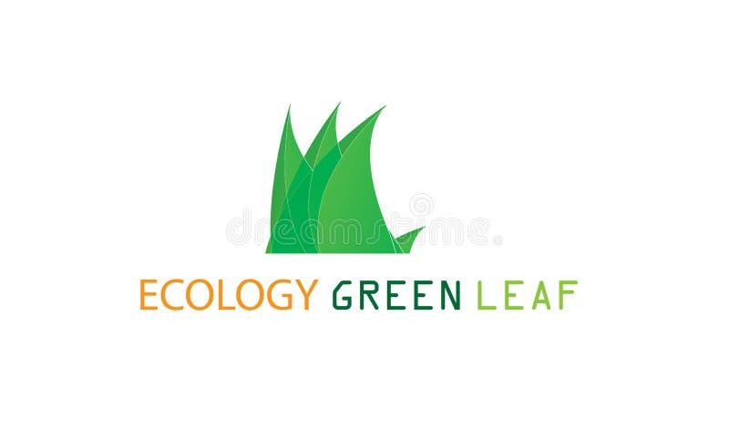Groen Ecologieblad Logo Template - Groene Verse de Natuurvoeding Natuurlijke Gezondheidszorg van Gezondheidseco Logotype vector illustratie
