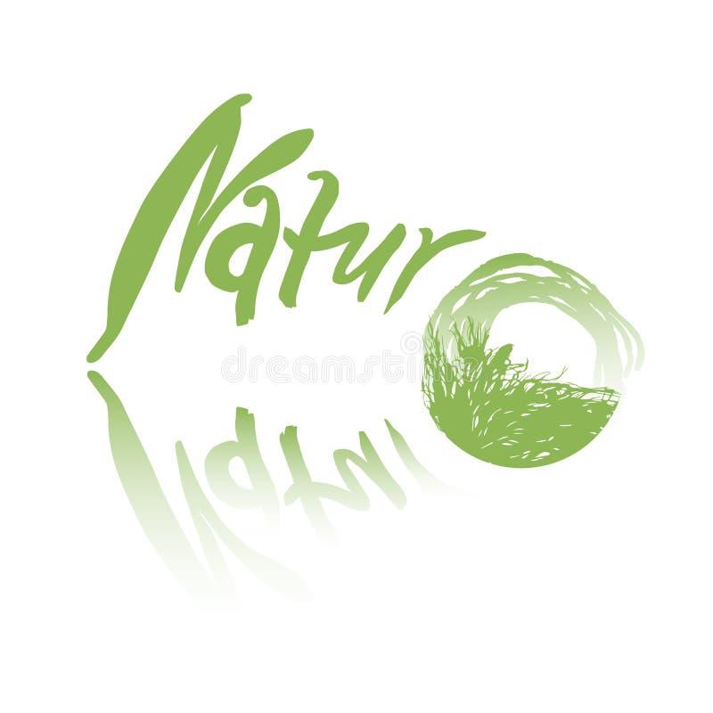 Groen, een met de hand geschreven die teken met tekstaard, geschikt voor een embleem, op witte achtergrond wordt geïsoleerd stock illustratie