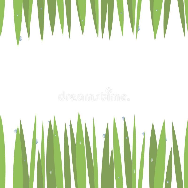 Groen eenvoudig groen gras op bovenkant en bodemkaart met blauwe transparante die waterdalingen op witte naadloze achtergrond wor vector illustratie
