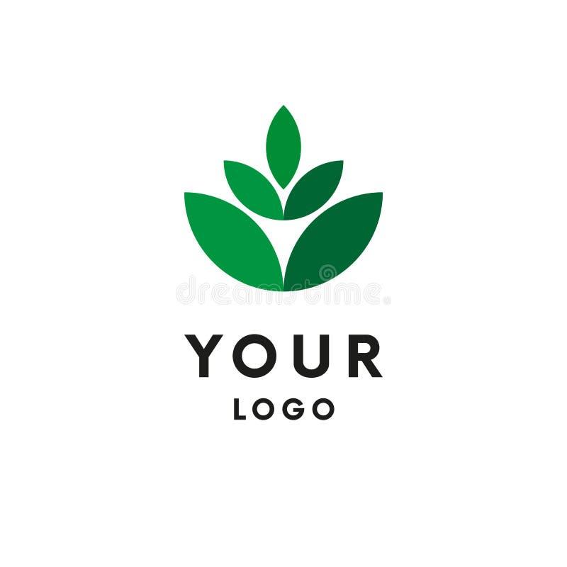 Groen embleem Doorbladert logotype Vector vector illustratie