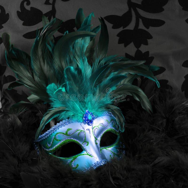 Groen en blauw geheimzinnig masker (Venetië) stock foto