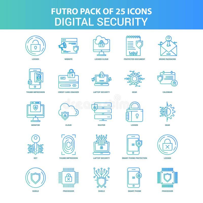 25 Groen en Blauw Pak van het de Veiligheidspictogram van Futuro Digitaal royalty-vrije illustratie