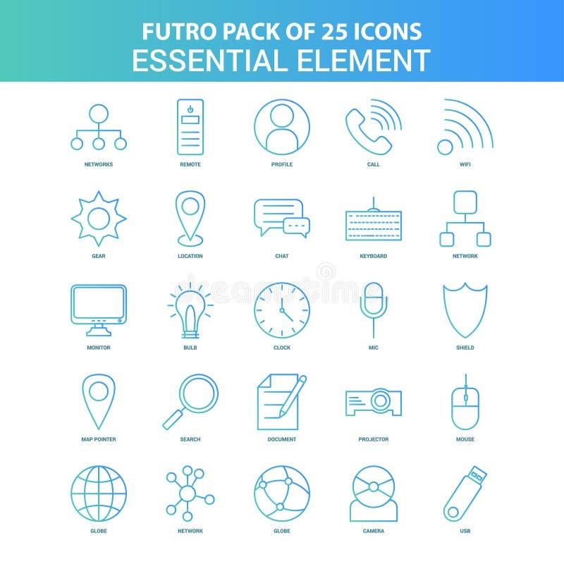 25 Groen en Blauw Pak van het het Elementenpictogram van Futuro Essentieel royalty-vrije illustratie