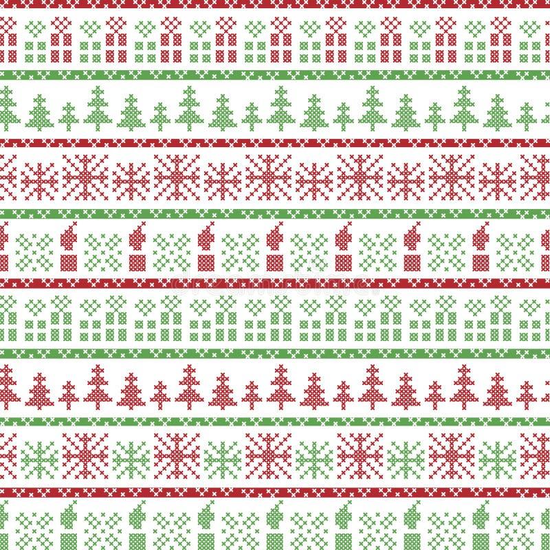 Groen en rood Kerstmis Noords patroon in het omvatten van Kerstmisgiften, kaarsen, sneeuwvlokken, sterren, decoratieve ornamenten royalty-vrije illustratie