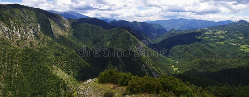 Groen en rotsachtig landschap van Mirador DE Gresolet De Pyreneeën, Spanje royalty-vrije stock afbeeldingen