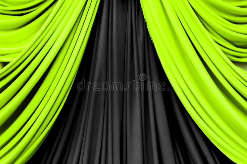 Groen en zwart gordijn op stadium royalty-vrije stock foto's