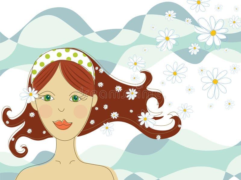 Groen eyed meisje met bloemen in kuuroord royalty-vrije illustratie