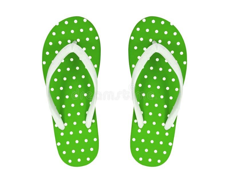 Groen Flip Flops Isolated op Witte Achtergrond Stippen Sandals Knippende weg royalty-vrije stock foto's