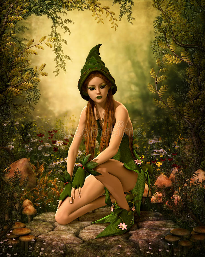 Groen Forest Elf, 3d CG stock illustratie