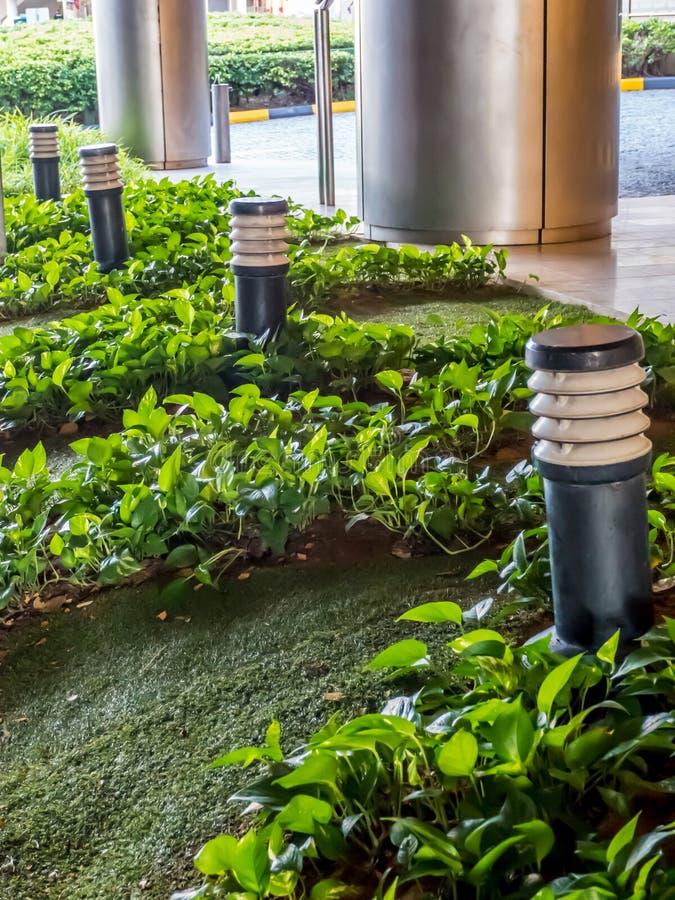 Groen gazon met tuinlamp stock afbeelding