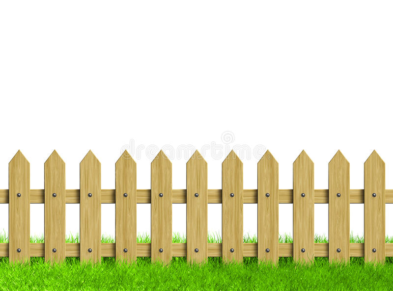 Groen gebied en houten omheining stock illustratie