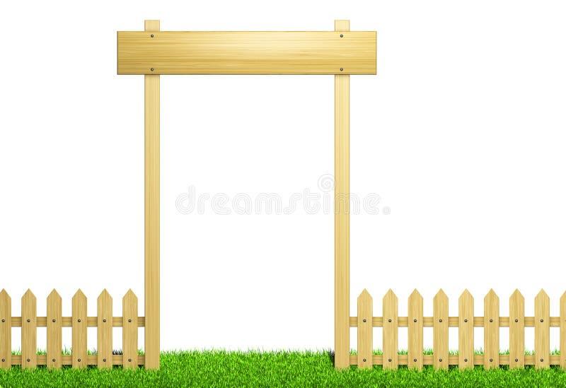 Groen gebied en houten omheining vector illustratie