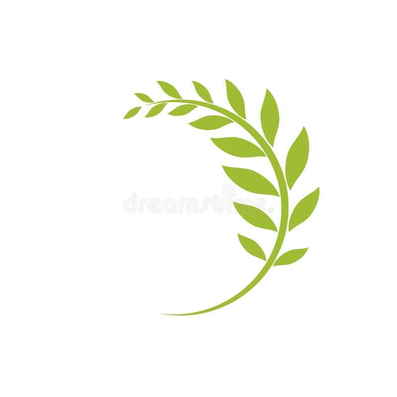 Groen gebogen die takje op wit wordt geïsoleerd vector illustratie