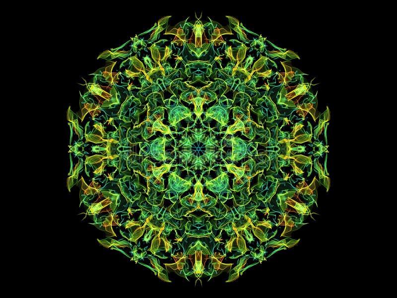 Groen, geel, blauw en oranje abstracte vlam mandala-bloem, ornamental florale ronde patroon op zwarte achtergrond. thema Yoga royalty-vrije illustratie