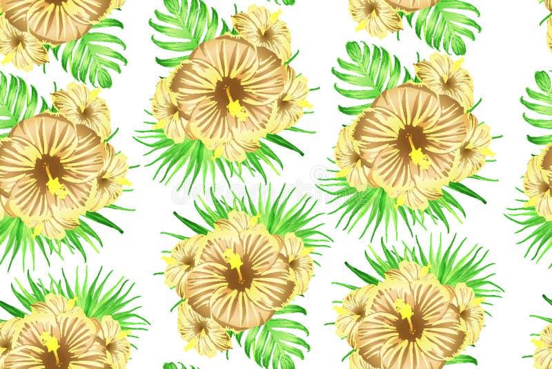 Groen geel exotisch patroon stock illustratie