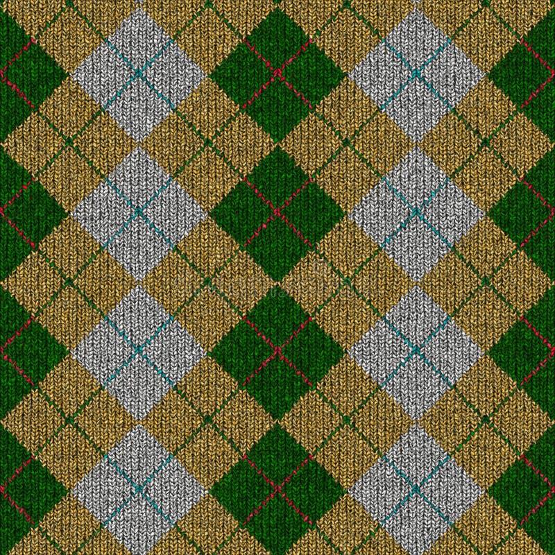 Groen, geel, grijs geruite Schotse wollen stof knitwork patroon stock foto's
