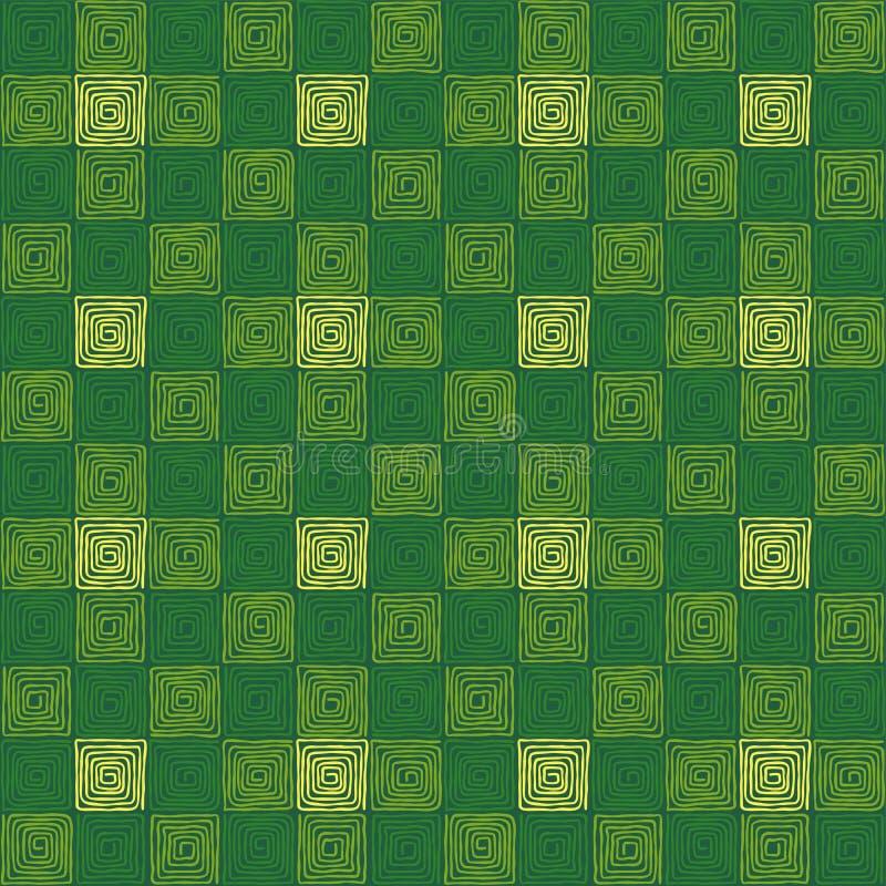Groen gekleurd naadloos vierkant spiraalvormig patroon stock illustratie