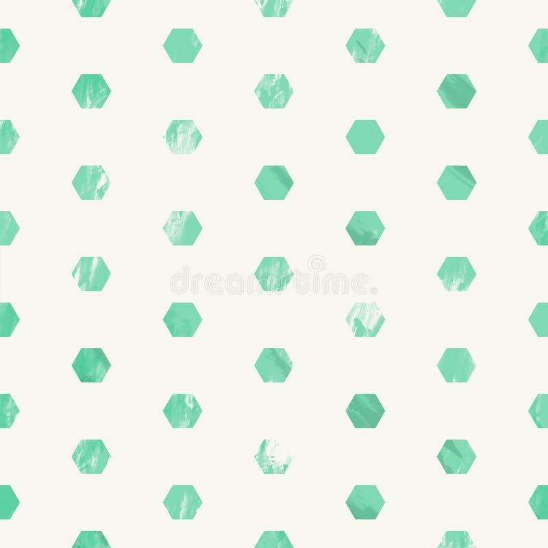 Groen gekrast grunge stijl naadloos patroon met zeshoeken stock afbeeldingen