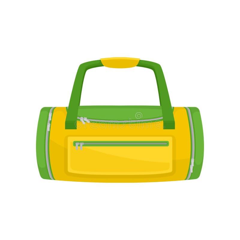 Groen-gele duffel zak met kleine zak op voorzijde Zak voor het dragen van gymnastiekkleren en toebehoren Vlak vectorpictogram stock illustratie
