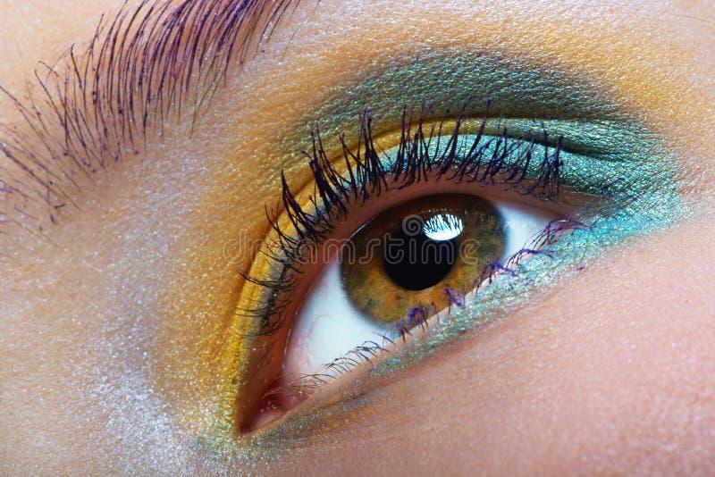 Groen-gele make-up stock foto