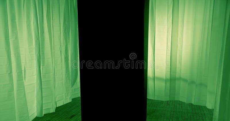 Groen gordijn op het stadium stock foto