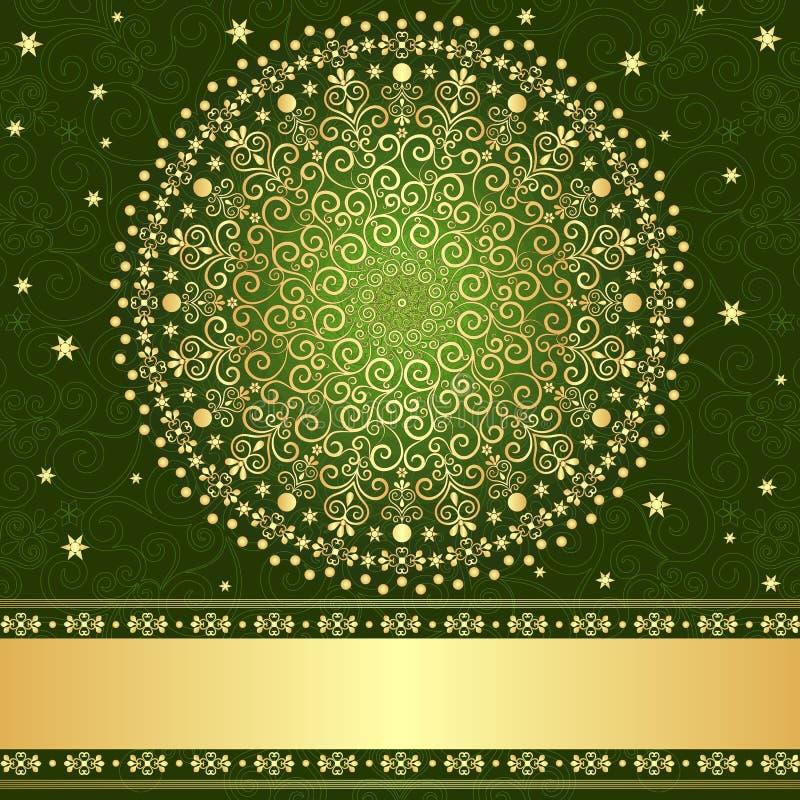 Groen-gouden bloemenframe royalty-vrije illustratie