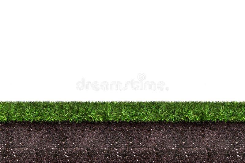 Groen gras met grond op witte achtergrond stock illustratie
