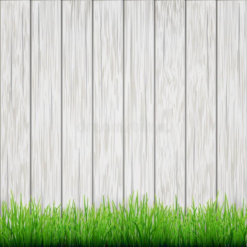 Groen gras op witte houten raadsachtergrond royalty-vrije illustratie
