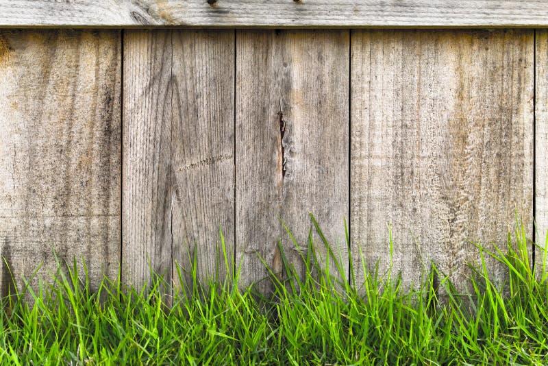 Groen gras over houten omheining royalty-vrije stock afbeelding