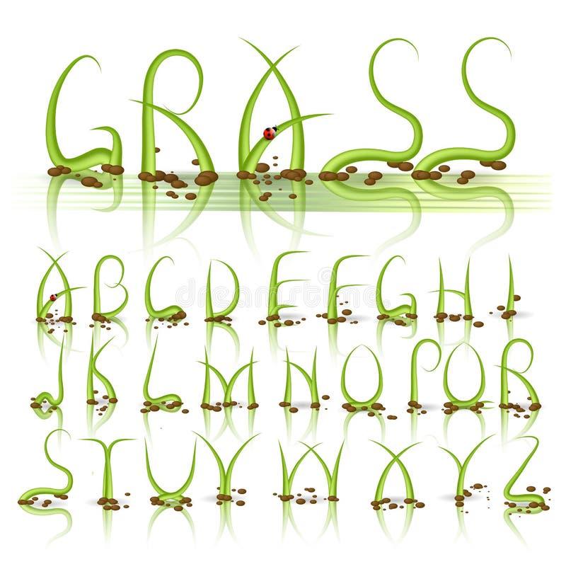 Groen gras vectoralfabet stock illustratie