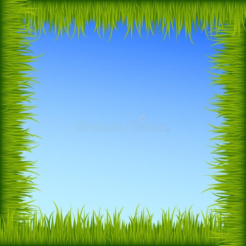 Groen graskader op blauwe hemelachtergrond vector illustratie